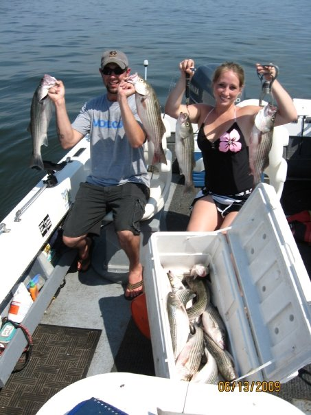 Shanya and Corey Bell\'s first striper trip.Corey should not be in the picture the way Shanya out fished him